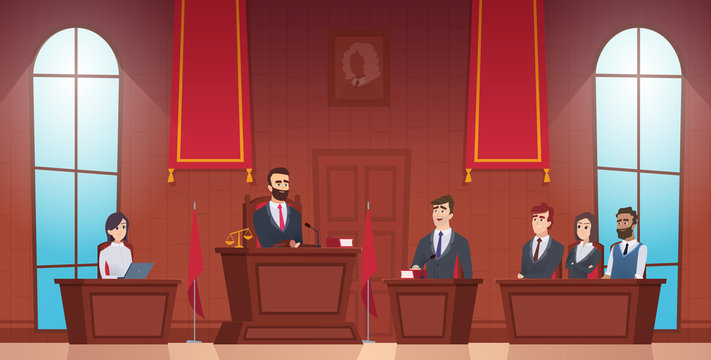Court room. Judge in courtroom police officer characters of jury inside evidence vector picture. Courthouse and justice, judge and session illustration