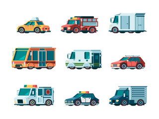 Flat cars. City traffic municipal vehicle fire ambulance police post office taxi truck bus and collector car vector orthogonal pictures. Transport vehicle, car police and ambulance illustration
