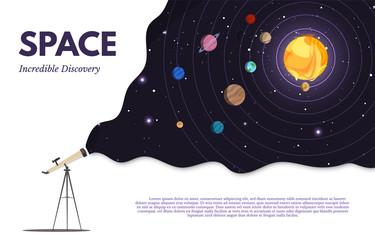 Space exploration flat banner vector template Fototapete