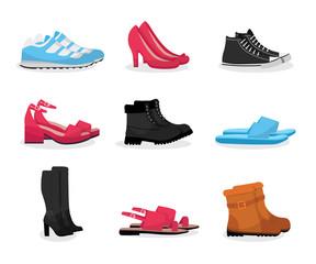 Various shoes flat vector illustrations set