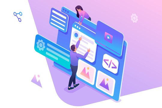 Isometric concept young people are engaged in web design, website page development. Concept for web design