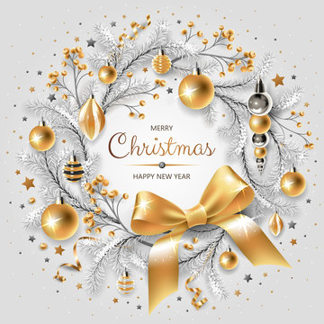 Wreath with gold and silver Christmas tree, berries, decoration, ribbons, gifts and other festive elements on white background.