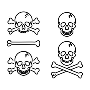 Skull, jolly roger, poison, piracy sign, danger sign, icon vector