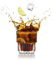 Wall Mural - lime wedge and ice cube falling into a splashing cola drink