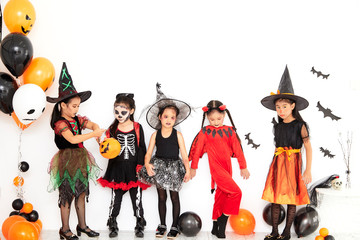 halloween party little children at home Wall mural