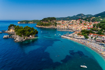 Aluminium Prints Nice Aerial cityscape view of the coastal city of Parga, Greece during the Summer