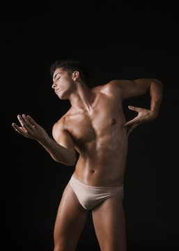 Graceful guy dancing with closed eyes