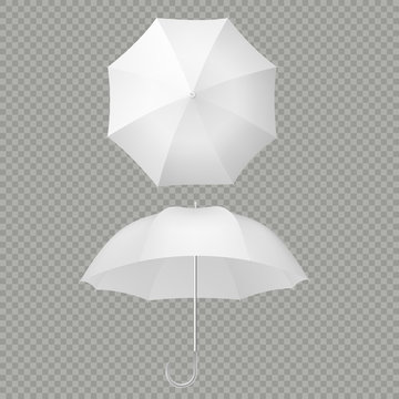 White umbrella and parasols realistic isolated on white. Design template of opened parasols for mock-up. EPS 10
