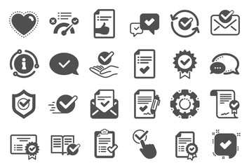 Approve icons. Set of Check List, Certificate and Award medal. Certified document, Accepted approve and Confirm mail icons. Guarantee certificate, Check mark and agreement signs. Quality set. Vector