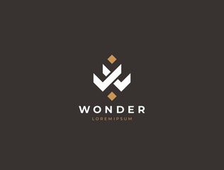 Unique modern geometric creative elegant letter W logo template. Vector icon.
