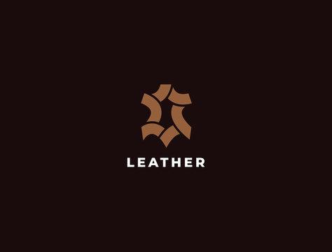 Premium creative leather logo design. Genuine leather vector logotype. Leather icon.