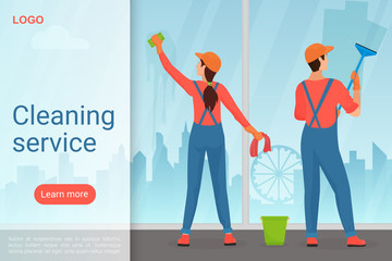 Cleaning service modern landing page vector template