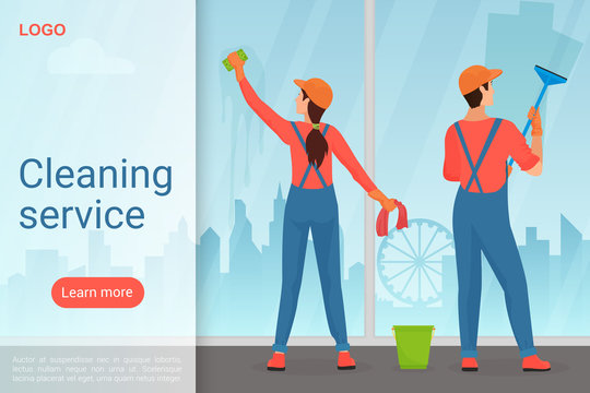 Cleaning service landing page vector template. Housekeeping business website homepage interface idea with flat vector illustrations. Professional cleaners, window washing web banner cartoon concept