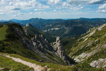 Landscape at the trail to Lurgbauerhütte on Schneealpe in Lower Austria, Europe