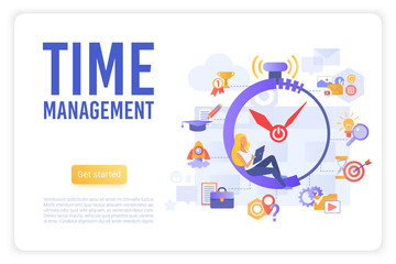Time business management landing page vector template