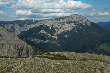 Nice clouds above the Heukuppe, the highest mountain of Rax in Lower Austria, Europe