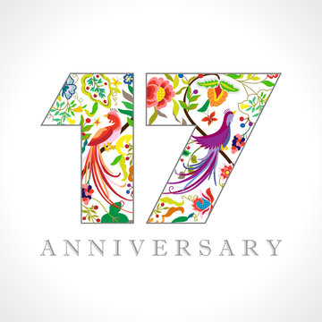 17 years old logotype. 17 th anniversary numbers. Decorative symbol. Age congrats with peacock birds. Isolated abstract graphic design template. Royal coloured digits. Up to 17% percent off discount.