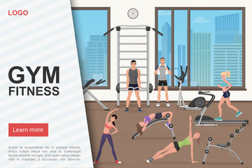 Gym training workout landing page vector template