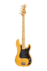Illustrative editorial photo of vintage Fender Precision electric bass guitar on white background on June 19, 2014 in Los Angeles, California, USA.