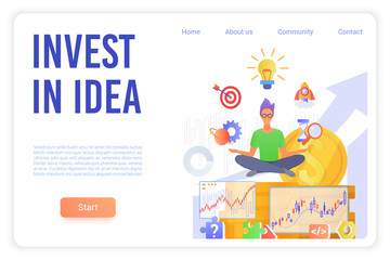 Invest in idea landing page vector template