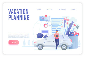 Vacation smart planning landing page vector template