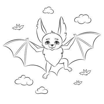 Cute bat coloring page. Vector Illustration.
