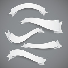 Set of White Paper Wavy Ribbons or Flags