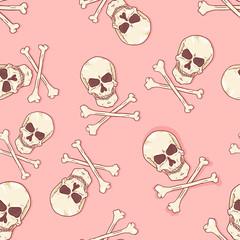Foto op Canvas Aquarel Schedel Vector Seamless Pattern - Skulls and Bones