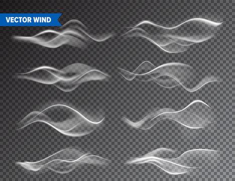 Realistic Wind Set on Transparent Background. Vector Vapor in Air, Smoke Steam Flow. Fog, Mist Effect.