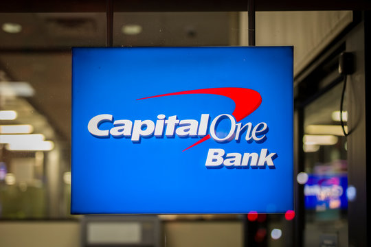 Sign of Capital One Bank in New York, USA. It is a bank holding company headquartered in McLean, Virginia.