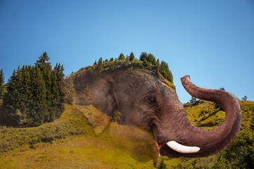 Montage photo d'un éléphan intégré dans une montagne (en Savoie) ressemblant à un éléphan