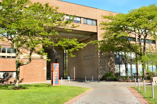 STONY BROOK, NY - MAY 24, 2015: Staller Center For The Arts at Stony Brook University. The Long Island campus was established in 1957 as part of the SUNY system.