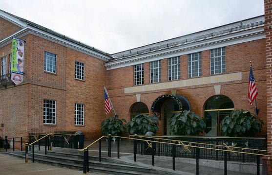 COOPERSTOWN, NEW YORK - SEPT 28, 2018: The National Baseball Hall of Fame and Museum. Their motto is - Preserving History, Honoring Excellence, Connecting Generations.