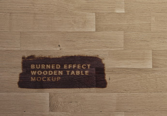 Wooden Surface with Burn Effect Mockup