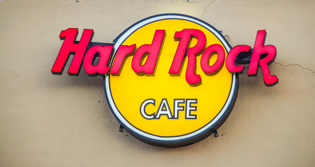 Detail from Hard Rock restaurant in Cabo San Lucas, Mexico. It is a chain of theme restaurants founded at 1971 in London.