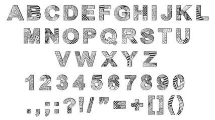 Zentangle doodle alphabet. Letters. Numbers. Punctuation marks. Doodle letters. Text. Title. English language alphabet. Zentangle font.