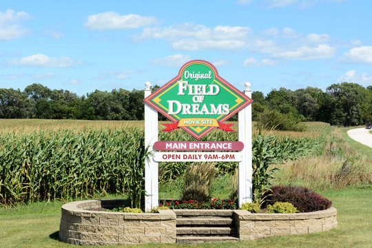 DYERSVILLE, IOWA - AUGUST 20, 2015: Field of Dreams movie site sign. The 1989 film starring Kevin Costner was filmed on the Lansing Family Farm.