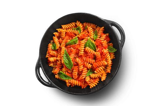 Traditional Italian pasta on black rustic pan