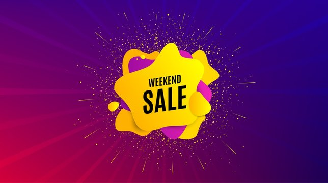 Weekend Sale. Dynamic text shape. Special offer price sign. Advertising Discounts symbol. Geometric vector banner. Weekend sale text. Gradient shape badge. Colorful background. Vector