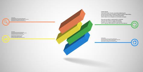 3D illustration infographic template with embossed cube divided to four shifted parts askew arranged