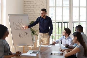 Diverse business people listen speaker coach giving flip chart presentation
