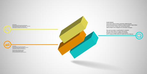 3D illustration infographic template with embossed cube divided to three shifted parts askew arranged