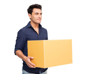 Young man with cardboard boxes isolated on white background