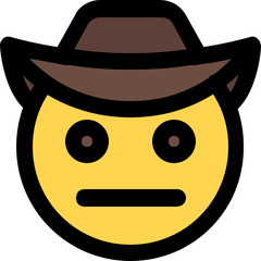 cowboy netural face expression with brim hat