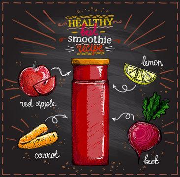 Healthy beet smoothie recipe on a chalkboard, vegetarian smoothie menu with ingredients