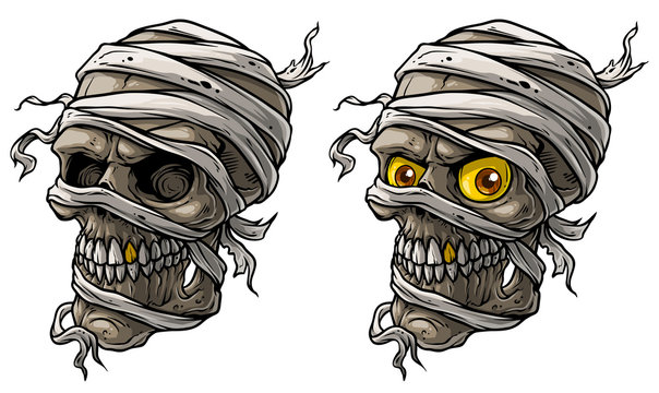 Cartoon detailed realistic colorful scary egyptian mummy skulls with yellow eyes, golden tooth and bandage. Isolated on white background. Vector icon set. Vol. 2
