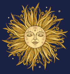 Sun graphic hand drawn sketch