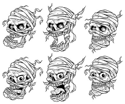 Graphic detailed realistic black and white scary egyptian mummy skulls with eyes, teeth and bandage. Isolated on white background. Vector icon set.
