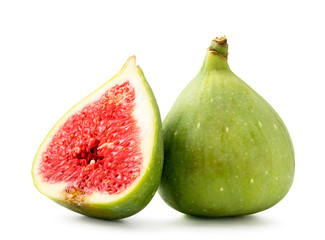 Ripe figs and red half on a white background. Isolated.