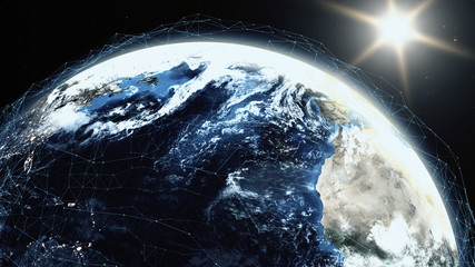 Realistic sunrise over planet Earth 3D illustration. Sunrise with digital data grid. Globe lits up from the Sun with technology mesh around. Internet and blockchain concept using NASA imagery in 4K